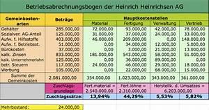 Deckungsbeitrag Berechnen Excel : betriebsabrechnungsbogen beispiel rechnungswesen ~ Themetempest.com Abrechnung
