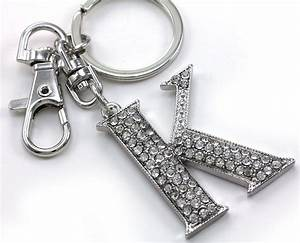 clear name alphabet initial letter k car keychain key ring With letter k keychain