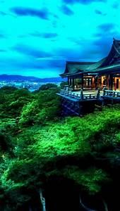 640x1136 Tempel Trees & City Japan Iphone 5 wallpaper