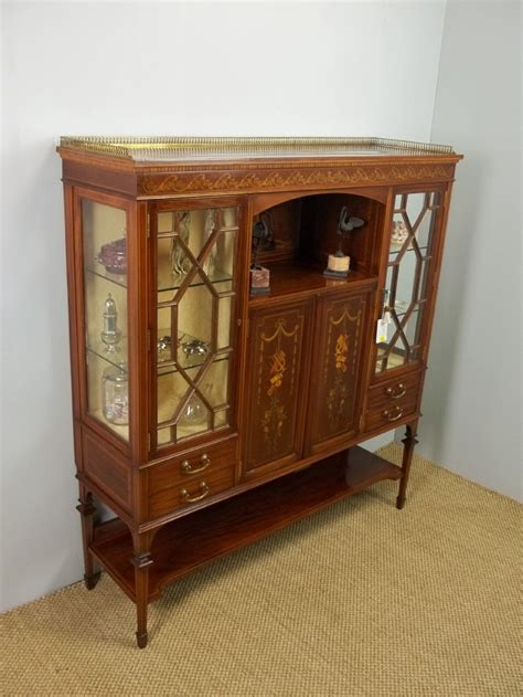 Sideboard And Display Cabinet by Antique Edwards Mahogany Marquetry Inlaid