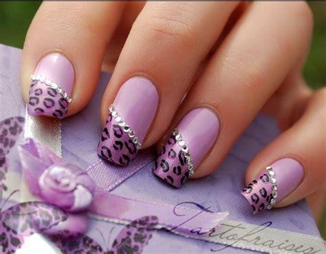 Purple Nail Art Design With White Beats