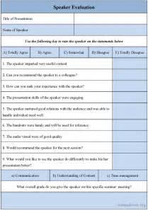 Guest Speaker Evaluation Form Template
