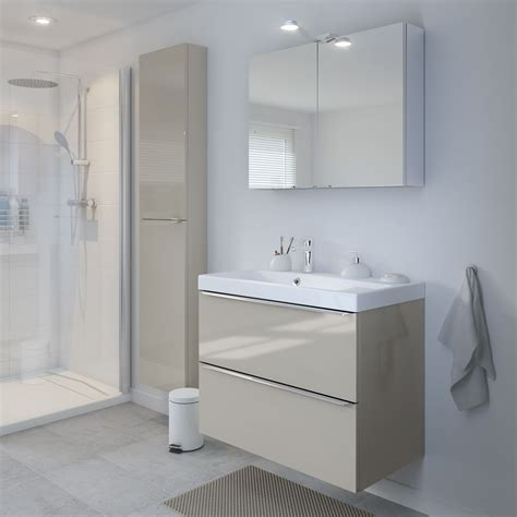 B Q Bathroom Cabinets by Cooke Lewis Imandra Gloss Taupe Wall Cabinet W 400mm In