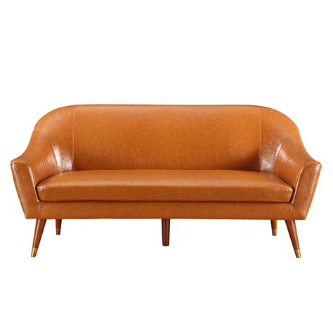camel faux leather sofa mid century modern bonded leather living room sofa camel
