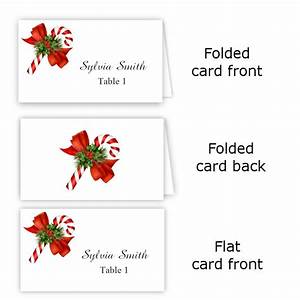 candy cane folded table tent flat place card templates With table placement cards templates