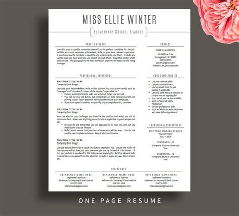 teacher resume template  word pages resume cover