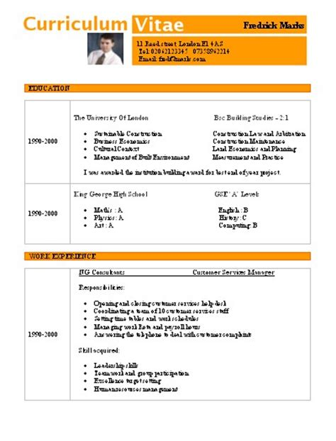 plantillas curriculum vitae word 2010 curriculums vitae