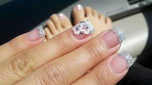 My classic Silver glitter french tip acrylic nails with ...