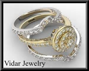 wedding ring sets for him and white gold two tone gold halo wedding ring set bridal rings vidar jewelry unique custom