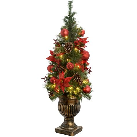 werchristmas 4 ft pre lit potted christmas tree with 50 warm white led fairy ebay