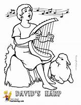 Coloring Harp Template Davids Bible David Pages Yescoloring Templates sketch template