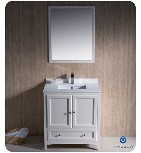 Menards Bathroom Vanity And Sink Combo by Fresca Fvn2030aw Antique White Oxford 30 Quot Solid Wood Frame