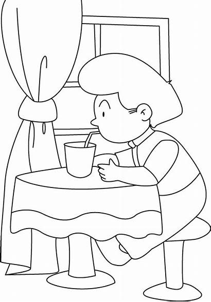 Coloring Water Drinking Drink Pages Drinks Straw