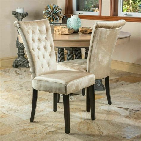 set   dining room champagne velvet dining chairs