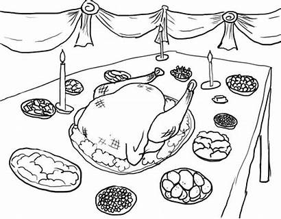 Thanksgiving Coloring Dinner Coloringkidz