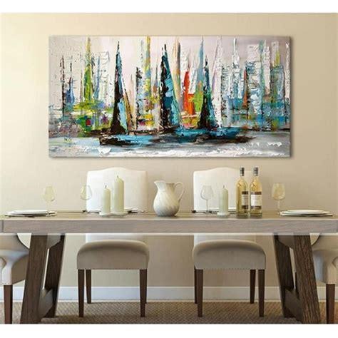 chambre au mois tableau peinture huile toile bateaux paysage fait