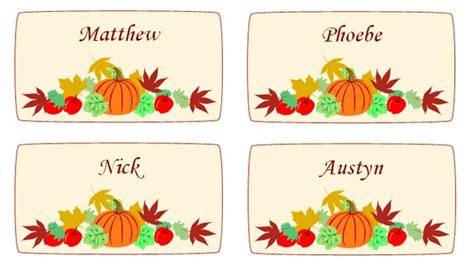 maple leaves  pumpkin thanksgiving place cards