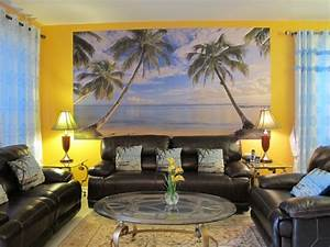 Blue Curtain Side Nice Lamp On Square Table Fit To Beach