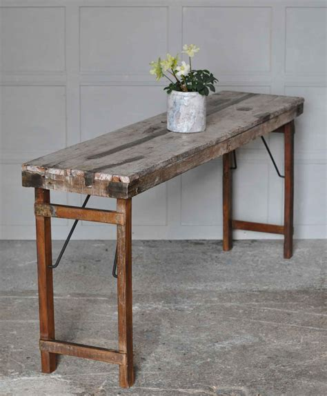 industrial rustic reclaimed folding console table home barn vintage