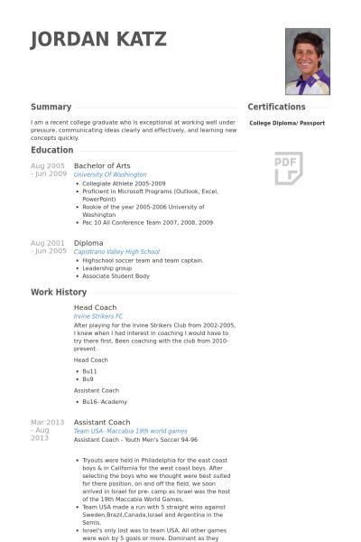 coach resume sles visualcv resume sles database