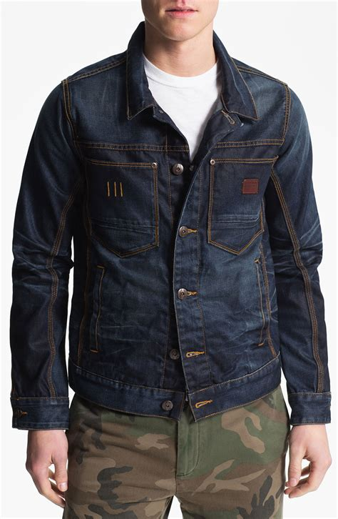 star raw ranch denim jacket  blue  men dark aged