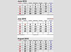 Calendar June July August 2016 Calendar Template 2019