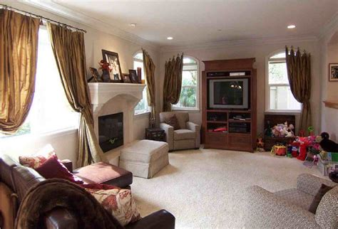 design in living room how to decorate a long narrow living room with corner fireplace window curtains drapes
