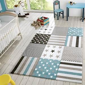 Teppich Im Babyzimmer : kinder teppich moderner spielteppich kariert sterne real ~ Markanthonyermac.com Haus und Dekorationen
