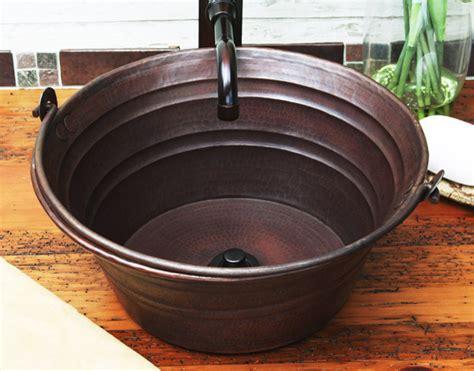 Copper Bucket Sink-rustic-bathroom Sinks-other Metro