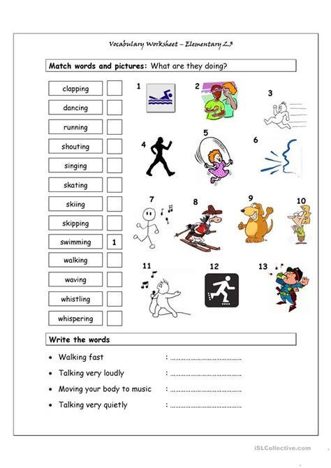 vocabulary matching worksheet elementary  action