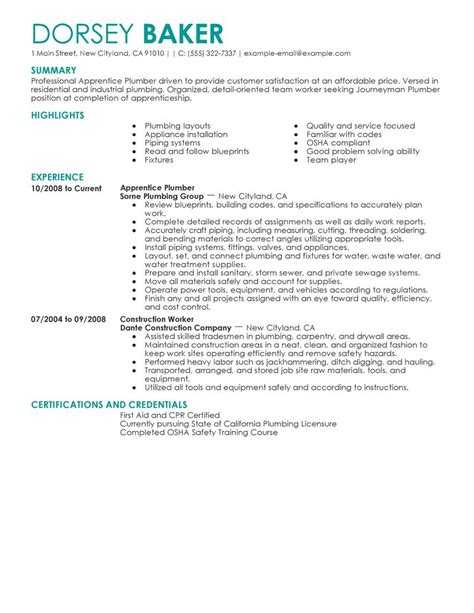 Plumbers Resume by Big Apprentice Plumber Exle Contemporary 4 Design