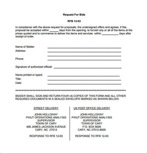 bid free bid template 16 free sle exle format