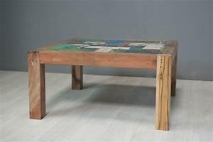 Grande Table Basse Carrée : table basse carr e en bois de bateau 90 cm ~ Teatrodelosmanantiales.com Idées de Décoration