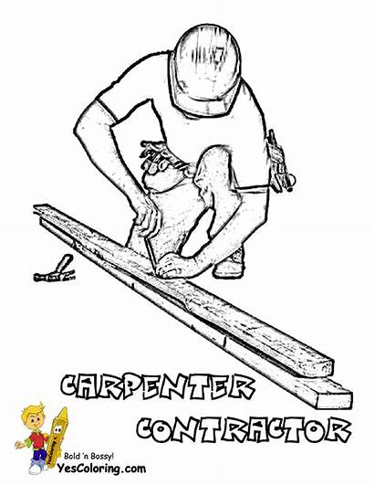 Coloring Construction Pages Carpenter Worker Drawing Equipment
