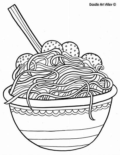 Coloring Spaghetti Doodle Alley Noodle Printable Adult