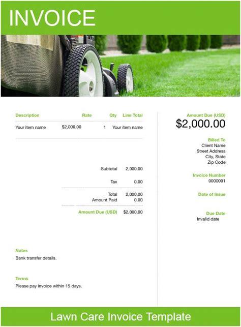 lawn care invoice template   send  minutes