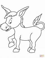 Donkey Coloring Pages Cute Printable Drawing Dot sketch template