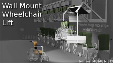 wall mounted wheelchair storage racks lift to organize