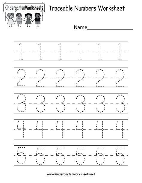 Kindergarten Traceable Numbers Worksheet Printable  Preschool  Pinterest Kindergarten