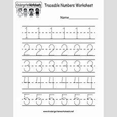 Kindergarten Traceable Numbers Worksheet Printable  Preschool  Preschool Worksheets