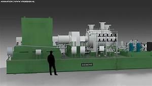 3d Animation Electrical Energy Power Plant Gasturbine