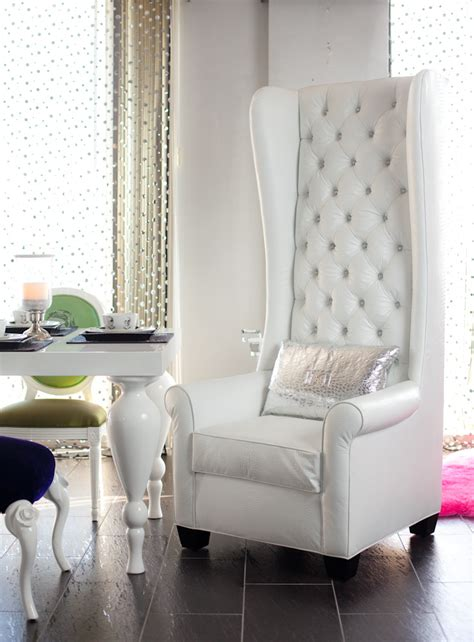 4186 wingback chair upholstered in white croco and tu