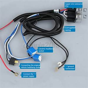 H4 4 Lamp Bulb 12v Headlight Wire Wiring Harness Ceramic