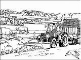 Coloring Farm Pages Tractor sketch template