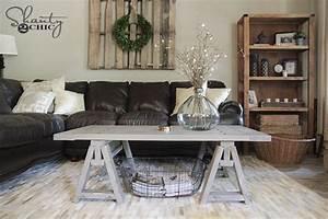 diy sawhorse coffee table free plans tutorial with With sawhorse coffee table