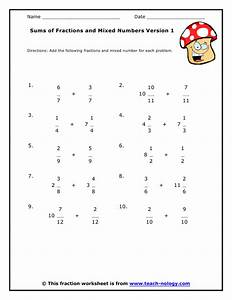 Sums of Fractions and Mixed Numbers Version 1