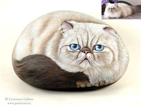 chat peint sur galet chats pinterest persique