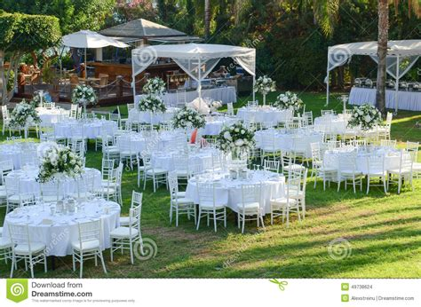 outdoor wedding reception wedding decorations stock photo