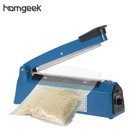 homgeek  hz manual plastic film sealer heat impulse sealer poly bag plastic film sealing