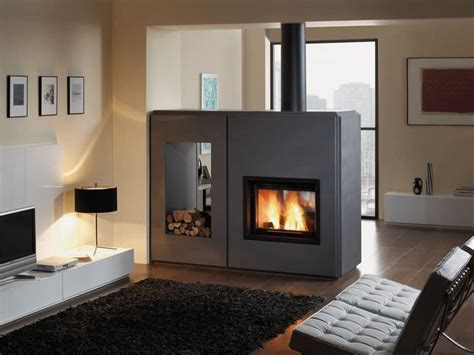 wood stove insert   sided fireplace